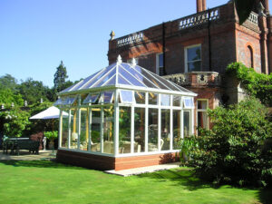 Bemrose_White external painted Oak Conservatory on Listed Building (9)