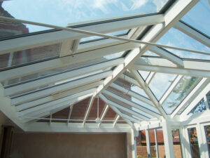 Take in the beautiful joinery of a Pine Conservatory roof